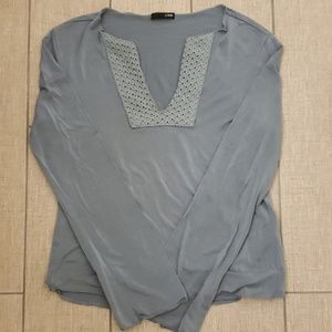 J Crew Steel Blue Lattice Neck Long Sleeve